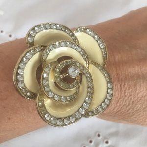 Jewelry - Adjustable jeweled flower bracelet with rhinestone